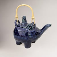 Novica Buddha and the Sapphire Elephant Ceramic Teapot