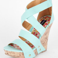 Madison Wedge Sandal in Mint :: tobi