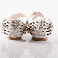 Studded Thong Sandals - White from Sandals at Lucky 21 Lucky 21