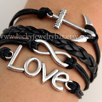 Infinity bracelet, love bracelet, anchor bracelet, black braid leather bracelet, wonderful gift