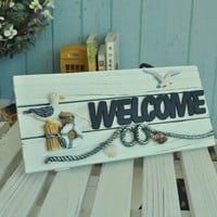 Ocean Style Welcome Sign Door Plate