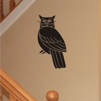 Mustached Owl Wall Decal, Removable Vinyl Wall Art
