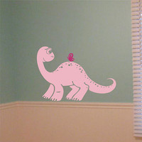 Wall Decal - Baby Dinosaur with butterfly - Nursery Wall Decal Vinyl Wall Art Decal Sticker