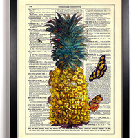 Pineapple With Butterflies And Caterpillars Repurposed Book Upcycled Dictionary Art Vintage Book Print Recycled Page Buy 2 Get 1 FREE