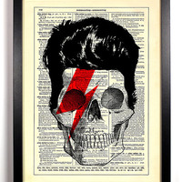 Repurposed Book Upcycled Dictionary Art Vintage Book Print Recycled Vintage Dictionary Page David Bowie Skull Music Buy 2 Get 1 FREE