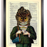 Geeky Owl with Tote Bag and Curyl Hair Upcycled Dictionary Vintage Book Art Print Buy 2 Get 1 FREE