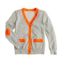 Girls' heart-patch cardigan - cotton - Girl's sweaters - J.Crew