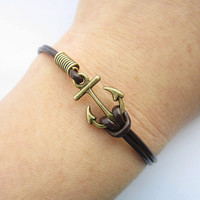 Braceletantique bronze little unique anchor&brown by lightenme