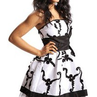 Applique Ribbon Strapless Mini Dress Prom Party Formal Gown | Junior Plus Size Prom Dresses