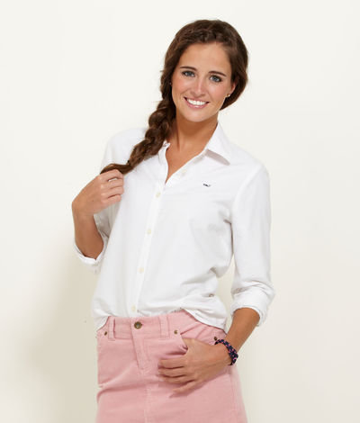 Women 39 S Button Down Shirts White Oxford From Vineyard Vines