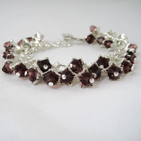 Crystal Flower Bracelet Burgundy