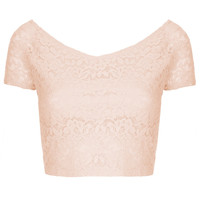 Lace Bardot Crop Top - Tops - Clothing - Topshop USA