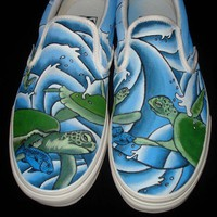 Hand Painted Vans  Turtles by TKDealShoes on Etsy