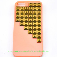 iPhone 5 Case with bronze pyramid stud for iPhone 5 ,iPhone hand case cover  d-88