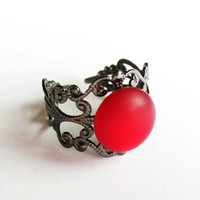 Fun Red Ring  - Gunmetal Vintage-Style Filigree Ring with Luminescent (see photo 2) Red Button - Adjustable