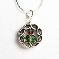 Celtic Braid and Crystal Necklace - Purple and Green Scottish Thistle Design  - on 18-inch Sterling Silver Chain
