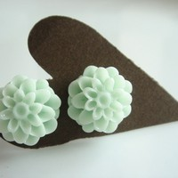 Pale Mint Green Mum Flower Stud Earrings