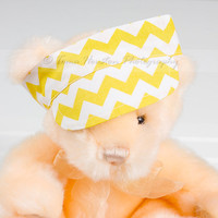Newborn Visor, Baby Boy, Girl, Photo Prop- Yellow, White, Chevron