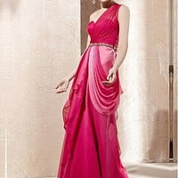 [279.99] In Stock Incredible Sheath One Shoulder Neckline Natural Waist Long Draped Gradient Party Dress  - Dressilyme.com