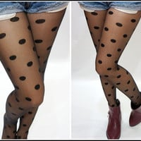 Black Polka Dot Tights Pantyhose
