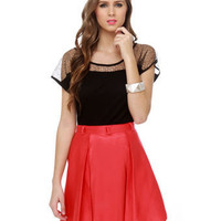 Unique Black Top - Mesh Top - Short Sleeve Top - $42.00