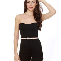 Cute Black Romper - Strapless Romper - Body-Con Romper - $37.50