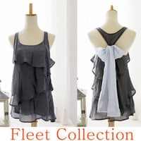 MISTY AURA  Sleeveless Dark Grey Blouse with by FleetCollection