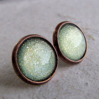Pale Green Post Earrings  Antiqued Copper  by AshleySpatula