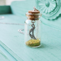 Moonlight  Glitter Glass Bottle Necklace by oflovelythings on Etsy