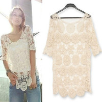Beige lace crochet top