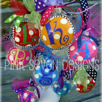 GLITTER Letter Ornaments by pinksevendesigns on Etsy