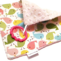 Handy Minky Baby Comforter with Ring Hook in 'Spring by CwtchBugs