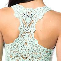 Lace Back Racerback Tank Top - Mint at Lucky 21 Lucky 21