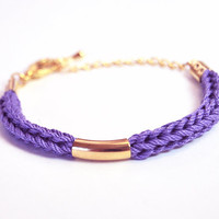 Violet bracelet with gold bar, cotton cord, knit bracelet, stacking bracelet