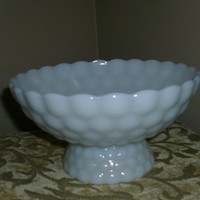 Upcycled Milk Glass Bowl  Glass Pedestal Bowl