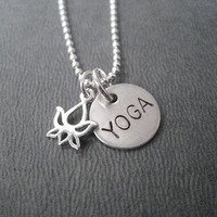 YOGA LOTUS FLOWER 16 inch Sterling Silver Yoga Necklace on 16 inch Sterling Silver Ball chain - Lotus Flower Yoga Necklace