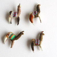 Llama Miniatures, Charms, Peruvian, Wool, Latin American, Pins, Jewelry, Set of 4