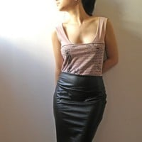 High Waist leather Pencil Skirt S by Julbyjuliagasin on Etsy