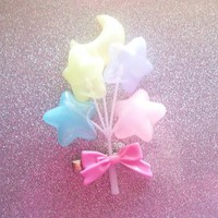 Pastel Moon and Star Balloons Hair Clip from On Secret Wings