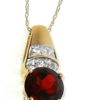 2.50ctw  Natural Red Garnet Pendant with chain 10k yellow gold