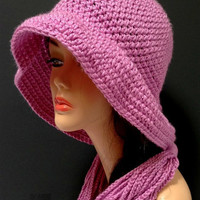 Country Rose Crochet Hat and Chain Scarf Set