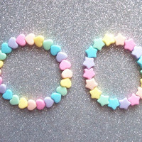 Pastel Rainbow Heart and Star Stretch Bracelets - Set of 2