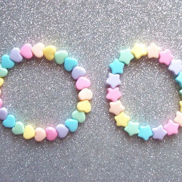 Pastel Rainbow Heart and Star Stretch Bracelets - Set of 2 from On Secret Wings