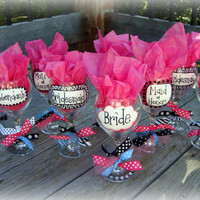 WEDDING PARTY Wine Glasses by pinksevendesigns on Etsy