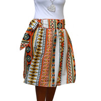Tribal Orange Midi skirt - Tangerine orange skirt - spring summer fashion