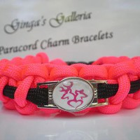 Hot Pink and Black BROWNING BUCK Theme Paracord Charm Bracelet
