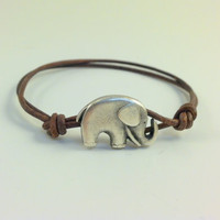 Lucky Elephant Silver Button Leather by Jennasjewelrydesign