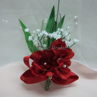 Boutonnieres, Red silk flower boutonnieres, Special Occasion Boutonnieres