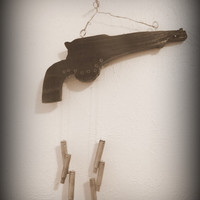 Western Wind Chimes/Gun and Bullet Wind Chime/ Yard Decor