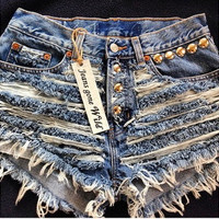 RIP IT UP High waisted denim shorts Studded super by jeansgonewild